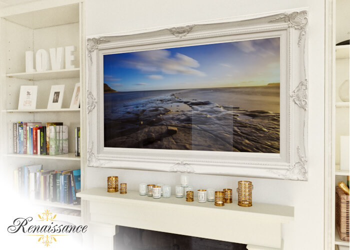 Decovue Framed Tv In Golden Frame Mounted Against A Dark Wall