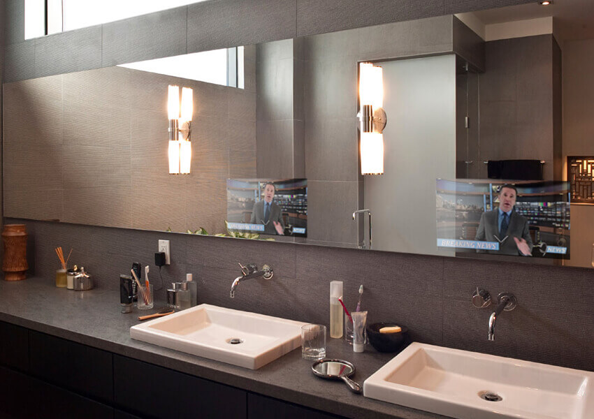 Mirrorvue Mirror TV installed in a double sink bathroom