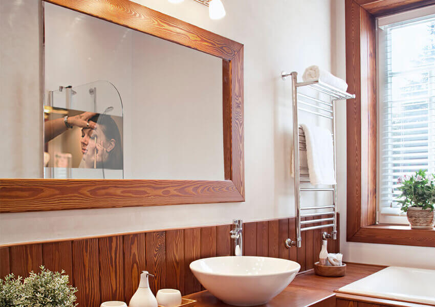 Mirrorvue Mirror Tv Showing A Makeup Video Installed In Luxurious Bath Tub