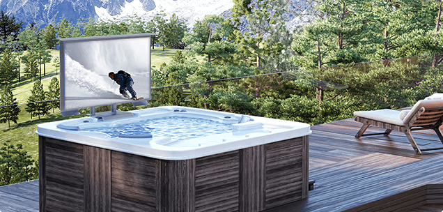 Cosmos Outdoor TV in hot tub mount